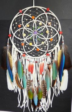 RESERVED for Authentic Native American Seed Of Life Sacred Geometry Dreamcatcher Exotic Feathers Turquoise Dreams Catcher, Los Dreamcatchers, Native American Seed, Beautiful Dream Catchers, Dream Catcher Mobile, Making Dream Catchers, Diy And Crafts, Arts And Crafts, Seed Of Life