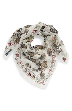 Alexander+McQueen+'Skull Hibiscus'+Silk Scarf+available+at+#Nordstrom