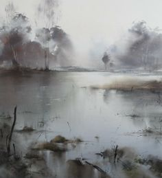 Ilya Ibryaev - Forest Lake - watercolor (54х48) cm