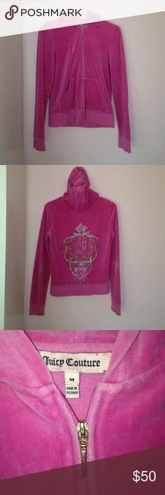 Juicy Couture Pink Zip Up Hot pink juicy couture zip up sweatshirt. Great condition. All gems intact. Juicy Couture Tops Sweatshirts & Hoodies