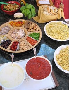 pasta bar...great idea...that way everyone gets what they really want...lol...too bad at our wedding they'll take what they get...bahahaha