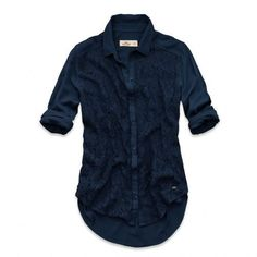Hollister! New Womens Navy Blue Rayon Lace Button-Down Long Sleeve Top Blouse-L #Hollister #ButtonDownShirt #AllOccasion