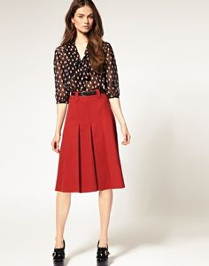 ASOS Midi Skirt With Pleats -- On Sale for $35.94