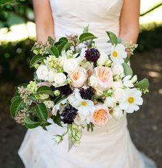 Romantic peach and plum bouquet