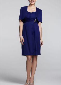 Short Sleeve Georgette Jacket Dress with Brooch - David's Bridal- mobile