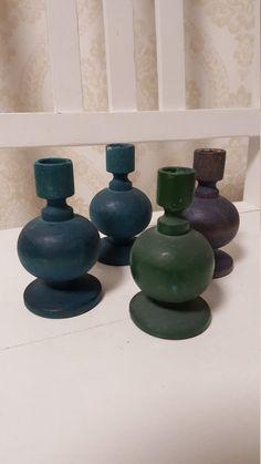 Finnish Vintage Aarikka wooden candle holders Set of 4 Made in the Wooden Candle Holders, Candle Holder Set, Different Colors, Colours, Vase, Candles, How To Make, Vintage, Design