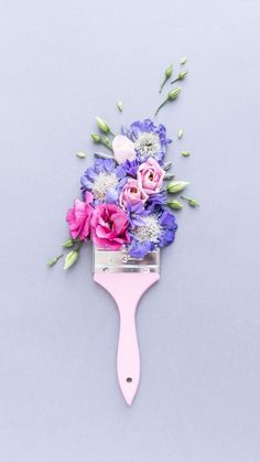 Illustration Life Bloom and Wild Flower Paintbrush by Georgie St Clair Purple Wallpaper, Flower Wallpaper, Wallpaper Backgrounds, Wallpaper Art, Bloom And Wild, Arte Floral, Stop Motion, Paint Brushes, Cute Wallpapers