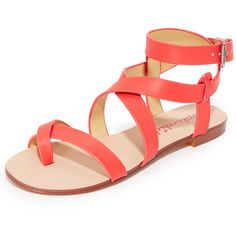 Splendid Callista Sandals ($78) ❤ liked on Polyvore featuring shoes, sandals, leather shoes, wrap around sandals, leather footwear, leather sandals and small heel sandals