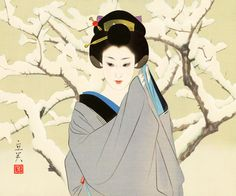 Shimura Tatsumi (1907-1980) 志村立美 Snow 雪、ca.1980 from a set Two Subjects of Japanese Women 日本の女二題  (2nd part)