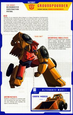 Transformer of the Day: Groundpounder Transformers Armada, Transformers Generation 1, Transformers Decepticons, Transformers Characters, Transformers Movie, Comic Book Characters, Comic Books, Anime, Pokemon