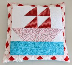 Lily Patch Quilts: Aqua Red Pillow