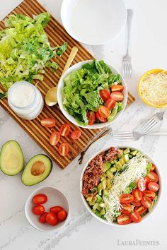 These BLT salads have it all with crunchy lettuce crisp bacon fresh tomatoes and Homemade Ranch dressing! Prep these for a delicious and satisfying low-carb meal prep lunch. Healthy Salad Recipes, Paleo Recipes, Low Carb Recipes, Real Food Recipes, Healthy Food, Cooking Recipes, Salad Toppings, Blt Salad, Lunch Meal Prep
