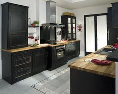 exemple cuisine noire style bistrot photos cuisine et. Black Bedroom Furniture Sets. Home Design Ideas