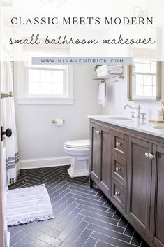 This Classic Meets Modern Small Bathroom Makeover brings big style to small space with an exposed pipe shower and a herringbone tile floor. Zen Bathroom, Bathroom Renos, Bathroom Flooring, Bathroom Interior, Master Bathroom, Downstairs Bathroom, Bathroom Shelves, Bathroom Organization, Modern Small Bathrooms