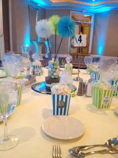 Boy baby shower.  Home made favors and centerpieces.