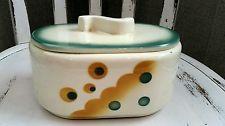 Keramik Gebäck Spritzdekor Deckeldose Keksdose Art Deco 1930 Vintage Bauhaus