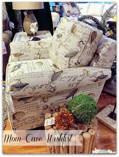 Mom Cave Wish List - Bree Stationary Occasional Chair covered in Birdsong (one of many choices available for this chair)