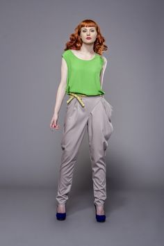 Green blouse and baggy trousers by Fanfaronada