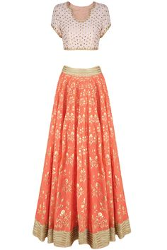 Blush pink and orange foil print gota embroidered lehenga set available only at…