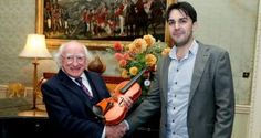 A Syrian refugee who made a violin from scratch after arriving in Ireland last March has presented the instrument to President Michael D Higgins.