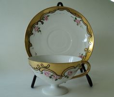 Vintage Gold Scroll Teacup with Pink Roses by OurBarefootCottage.etsy.com