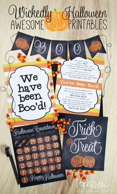 Wickedly Awesome Halloween Printables - includes a Halloween Countdown, Trick or Treat Printable, Printable Banner and You've been Boo'd printable! Everything you need for Halloween!
