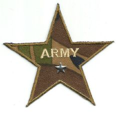 "Army Star 3.25"" Patch ~ Green/Brown/Blue Iron On Patch #Unbranded"