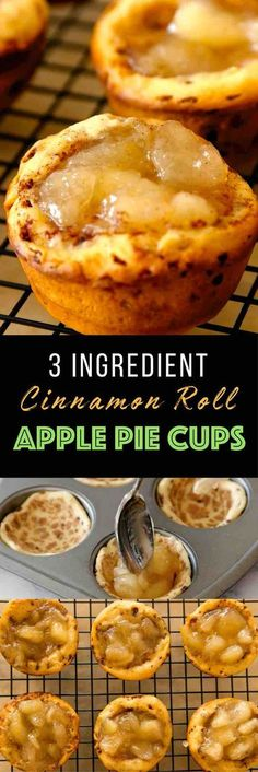 Cinnamon Roll Apple Pie Cups – warm and delicious apple pie filling cooked in cinnamon sugary cinnamon roll cups in a muffin tin. The Easiest dessert that comes together in 20 minutes! Only 3 Ingredients: Cinnamon roll package, apple pie filling and icing Yummy Recipes, Apple Pie Recipes, Cooking Recipes, Yummy Food, Cooking Food, Healthy Recipes, Kitchen Recipes, Quick Apple Pie Recipe, Quick Desert Recipes
