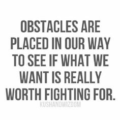 Obstacles Are Placed In Our Way To See If What We Want Is Really Worth Fighting For