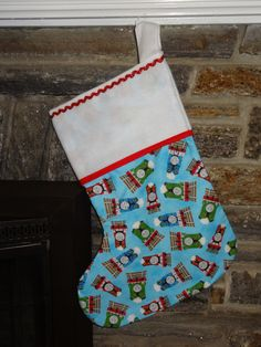 """Thomas the Train Christmas Holiday Mantle Stocking Double Layer Cotton w/Flannel Lined Handmade Supersize 21"""" x 15"""" by DesignsByGranGran on Etsy"""