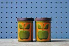 Vintage apple salt & pepper pots designed by John Clappison for Hornsea Pottery | H is for Home