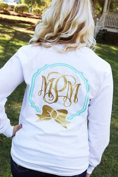 White shirt with mint border and gold glitter initials/bow