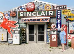 This is my uncle's place!  Off of route 66. Awesome people to call family.  :) He is a major collector of vintage signs, gas pumps, Coca-Cola, and Route 66 memorabilia. Bob's Gasoline Alley in Cuba, MO.