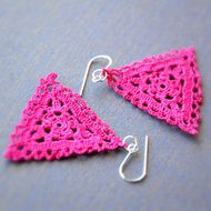 Delicate Triangular Lace Earrings in Cerise Pink