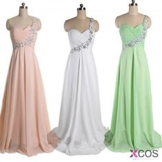 Simple Dress Simple A-line Beading One-shoulder Long Chiffon Prom Dresses/Evening Dresses CHPD-7019