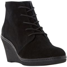 Dune Pip Suede Mid Wedge Heel Ankle Boots , Black ($140) ❤ liked on Polyvore featuring shoes, boots, ankle booties, black, lace up booties, wedge booties, lace up boots, black bootie and suede booties