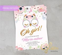 Excited to share this item from my #etsy shop: Owl floral Baby Shower invitation/ For baby girl, digital baby shower invitation, girl invitation,printable invitation