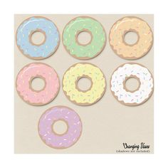 Digital Clip Art Pastel Donut Clipart Bakery Clip by ChangingVases