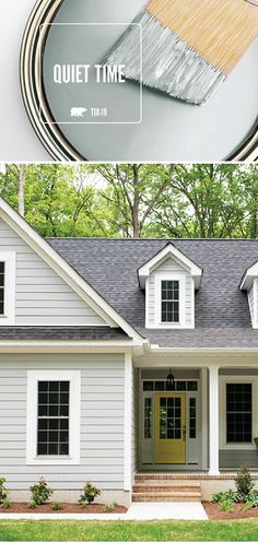 The light gray hue of Quiet Time by BEHR Paint looks just as good on the exterior of your house as it does on the interior. We love pairing this neutral shade with pops of bright accent colors to add a modern twist to a classic design scheme. Best Exterior Paint, Exterior Paint Colors For House, Paint Colors For Home, Exterior Colors, Exterior Design, Paint Colours, Wall Exterior, Exterior Stairs, Grey Exterior