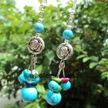 W0001 Wholesale 50pairs/lot=100pcs/lot women's Vintage jewelry tibetan silver turquoise drop earring(China (Mainland))