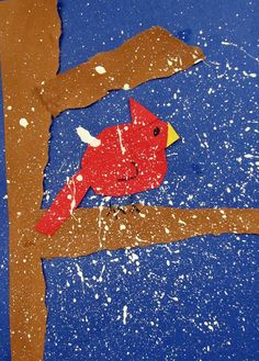 A striking winter art project that involves cutting, tearing, and controlled splatter painting. Great fine-motor workout and opportunity to talk about the cardinal.