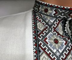 Handmade embroidered dress shirt vyshyvanka for men. With traditional patterns of Ukrainian embroidery. PLEASE NOTE! SHIRTS ARE MADE TO ORDER. Materials: Fabric - cotton Technique - handmade cross lace Threads - wool thread Design - free style ( cut free ) Quality and beauty -