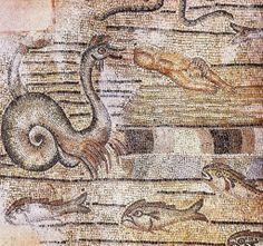 Decorazione musiva, IV d.C. Story of Jonah. Basilica Patriarcale di Santa Maria Assunta, Aquileia. Cultura cristiana romana. Giona viene sputato dal mostro.