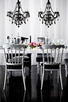 black and white dining fixtures, decor, and furniture