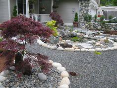 jardin avec cailloux | Demelo Landscaping design and build custom river rock…