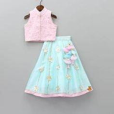 Pre Order: Crystal Rosie Lehenga Set Lehenga Top, Blue Lehenga, Dupion Silk, Silk Top, No Frills, Sequins, Crystals, Skirts, Cotton