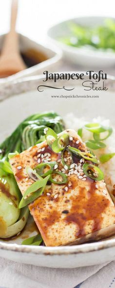 This protein-packed Japanese Tofu Steak is healthy, and quick! Vegan Japanese Food, Japanese Vegetarian Recipes, Easy Japanese Recipes, Asian Recipes, Ethnic Recipes, Vegetarian Meal, Steak Recipes, Lunch Recipes, Gourmet Recipes