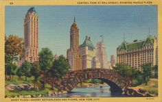 Central Park at 59th Street, Showing Hotels Plaza - New York, New York | by The Cardboard America Archives