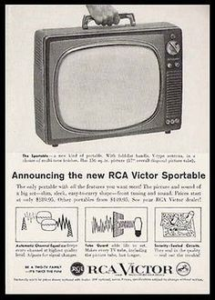 RCA Victor Vintage TV Ad Sportable Portable Television TV 1959 Photo Illustrated