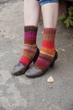 Hand knitted women wool Socks colorful stripes autumn by SockClub, $45.00